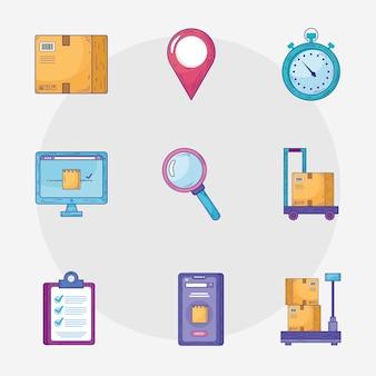 Paquete de nueve iconos de conjunto de servicios de entrega, diseño de ilustraciones