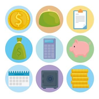 Paquete de nueve iconos de economía de dinero de ahorro ilustración