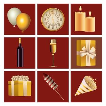 Paquete de nueve iconos de feliz año nuevo en ilustración de fondo rojo