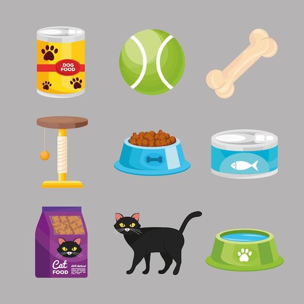 Paquete de nueve iconos de set de tienda de mascotas