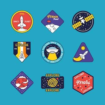 Paquete de nueve insignias espaciales línea e ilustración de iconos de estilo de relleno