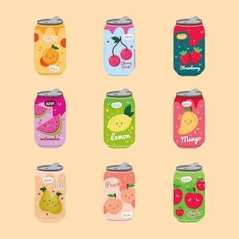 Paquete de nueve latas de frutas de zumos con personajes kawaii