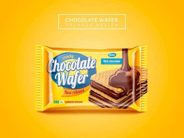 Paquete de obleas de chocolate, delicioso paquete de galletas aislado sobre fondo amarillo