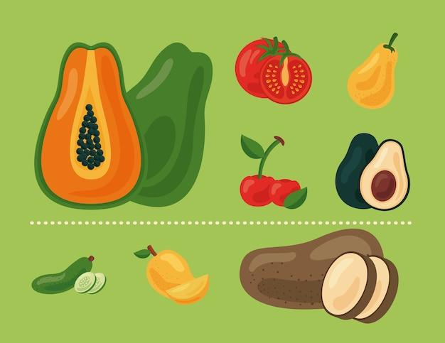 Paquete de ocho frutas y verduras frescas alimentos saludables establecer iconos, diseño de ilustraciones