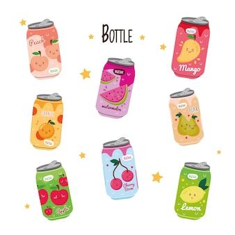 Paquete de ocho latas de zumos de frutas con personajes kawaii