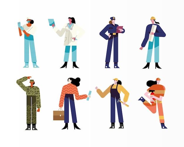 Paquete de ocho mujeres personajes de diferentes profesiones ilustración