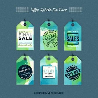 Paquete de ofertas de etiquetas de acuarela