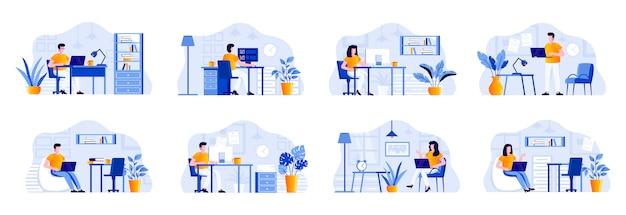 Paquete de oficina de coworking con personajes de personas. diseñadores y desarrolladores que trabajan con computadoras en situaciones de área de espacio abierto de coworking. empleados y trabajadores independientes en el lugar de trabajo ilustración plana