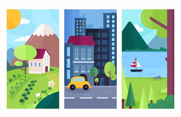 Paquete de paisaje diferente de diseño plano