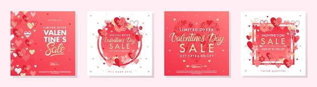 Paquete de pancartas de oferta especial del día de san valentín con corazones y elementos de lámina dorada