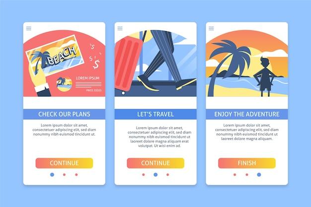 Paquete de pantalla de la aplicación de viajes incorporados