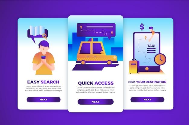Paquete de pantallas de la aplicación de incorporación del servicio de taxi
