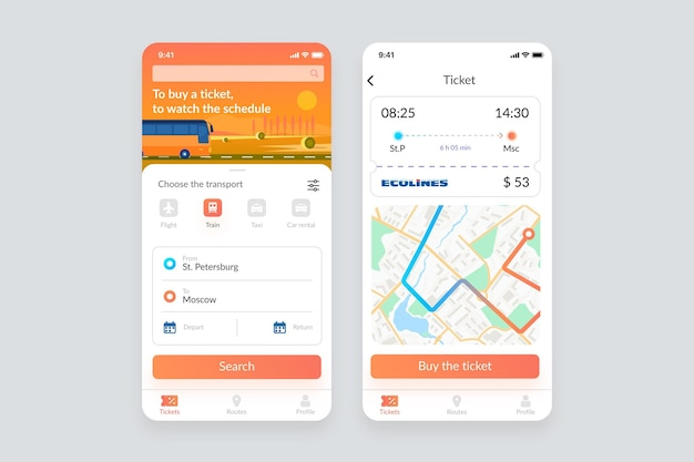 Paquete de pantallas de la aplicación de transporte público