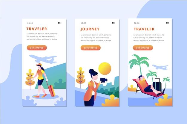 Paquete de pantallas de aplicaciones de viaje