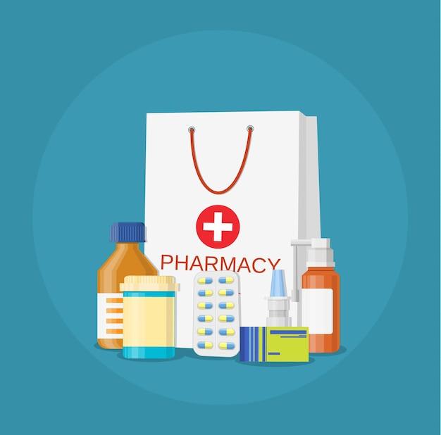 Paquete de papel con medicamentos, píldoras, botellas, líquidos y cápsulas.