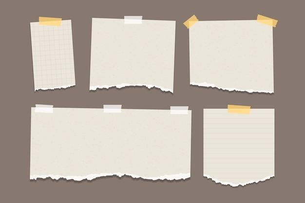 Paquete de papel rasgado en diferentes formas.
