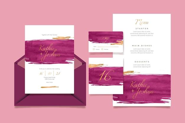 Paquete de papelería de boda en acuarela burdeos y dorado