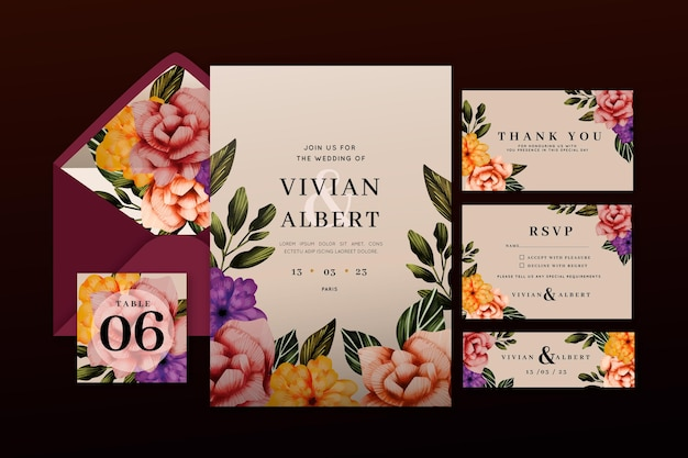 Paquete de papelería de boda botánica