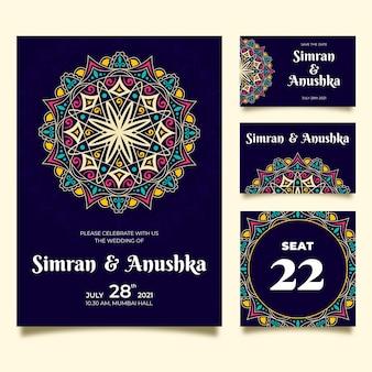 Paquete de papelería de boda india