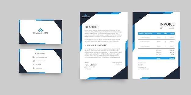 Paquete de papelería de empresa comercial moderna con membrete y factura con formas abstractas azules