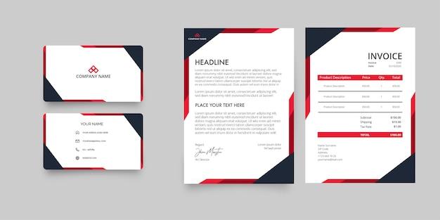 Paquete de papelería de empresa comercial moderna con membrete y factura con formas rojas abstractas