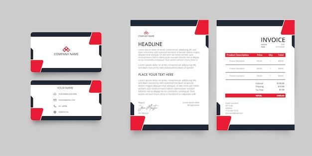 Paquete de papelería empresarial moderno con formas abstractas rojas