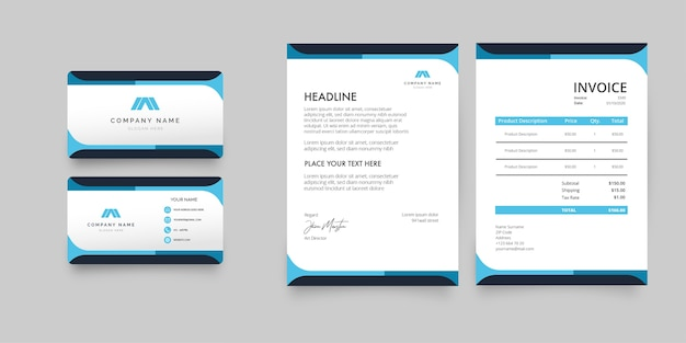 Paquete de papelería empresarial moderno con formas azules