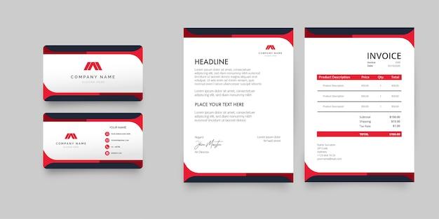 Paquete de papelería empresarial moderno con formas rojas