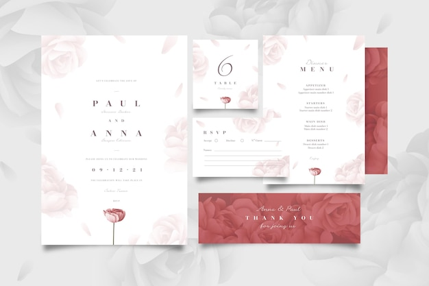 Paquete de papelería floral para bodas