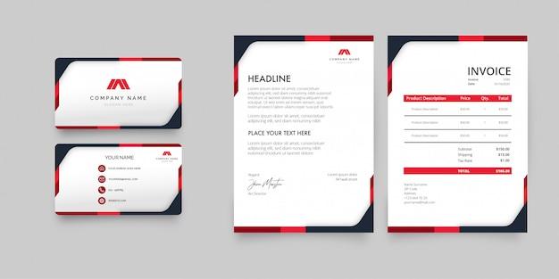 Paquete de papelería moderna con plantilla de formas rojas