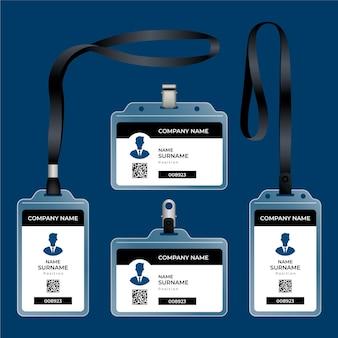 Paquete de papelería de tarjeta de identificación realista