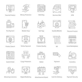 Paquete de paquete de iconos de línea de comercio electrónico