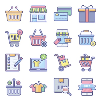 Paquete de paquete de iconos planos de compras