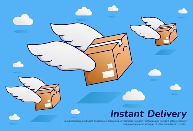Paquete de paquete rápido volando con ilustración de entrega instantánea de ala