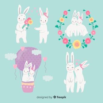 Paquete pareja de conejos san valentín
