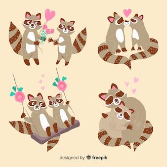 Paquete pareja de mapache san valentín