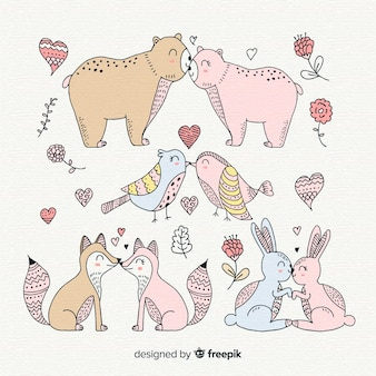 Paquete parejas de animales besándose san valentín