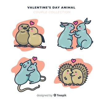 Paquete parejas de animales día de san valentín dibujadas a mano
