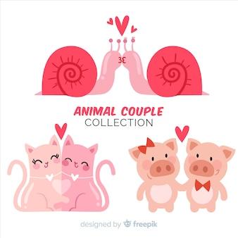 Paquete parejas de animales día de san valentín