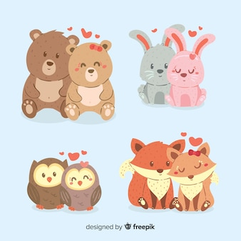 Paquete parejas de animales dibujadas a mano san valentín