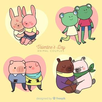 Paquete parejas de animales dibujos animados san valentín