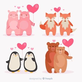 Paquete parejas de animales con globos san valentín