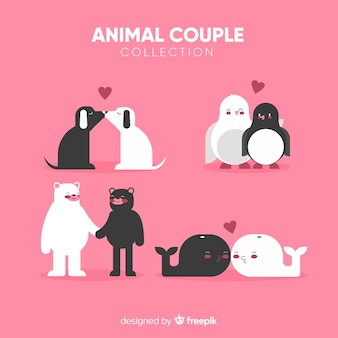 Paquete parejas de animales simples san valentín