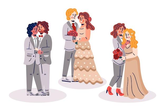 Paquete de parejas de boda dibujado a mano