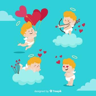 Paquete parejas día de san valentín dibujadas a mano