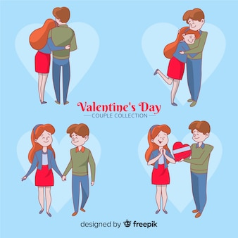 Paquete parejas día de san valentín dibujos animados