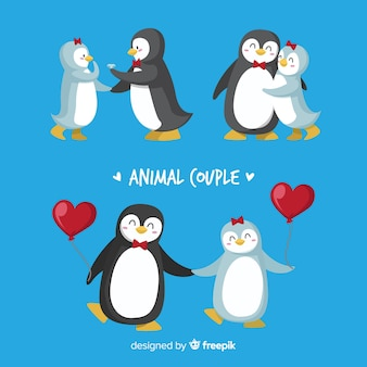 Paquete parejas de pingüinos san valentín