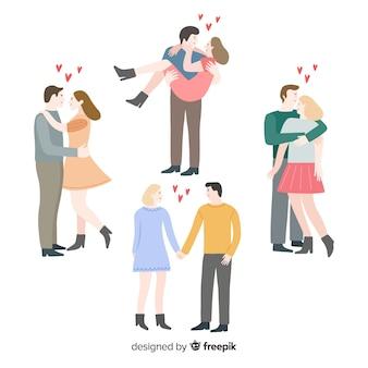 Paquete parejas planas día de san valentín