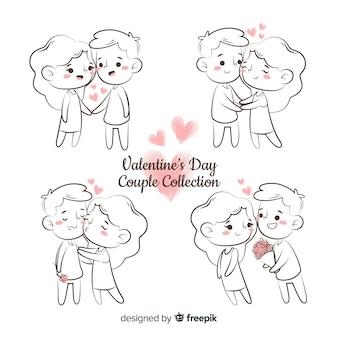 Paquete parejas san valentín dibujos animados