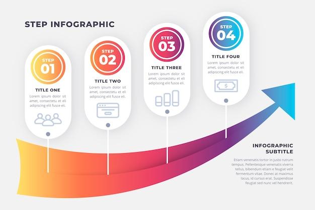 Paquete de pasos creativos de infografía